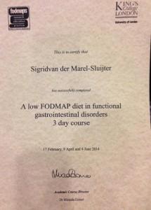 KCL FODMAP certificaat